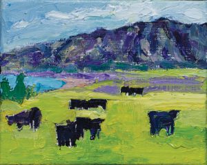 "Kula Cows 8"" x 10"" – Oil Original – $250"