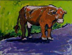 "Hana Orange Cow 16"" x 20"" – Oil Original – $475 – SOLD"