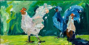 "Maui Chickens 6"" x 9"" – Oil Original – $375 – SOLD"