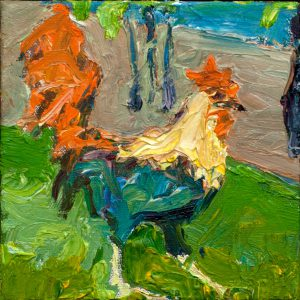 "Maui Rooster 6"" x 6"" – Oil Original – $185"