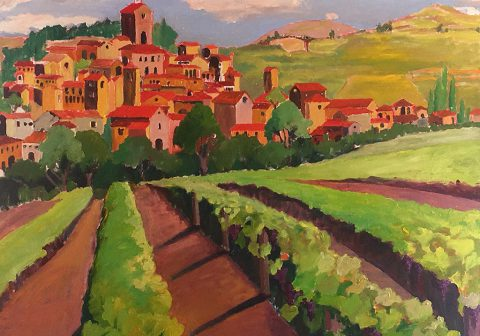 "Tuscan Vineyard 32"" x 42"" – Oil Original – $1625"