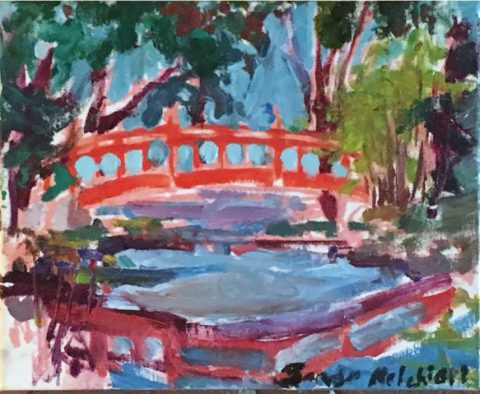 "Coos Bay Japanese Red Bridge 8"" x 10"" – Oil Original - $167"