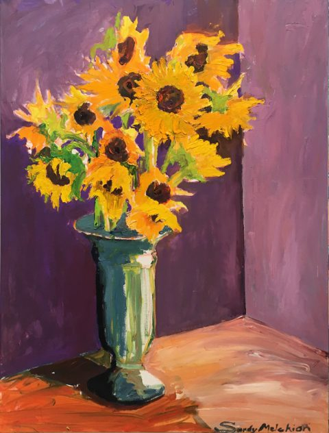 "Sunflowers in Green Vase (2) 40"" x 30"" – Oil Original – $1083"