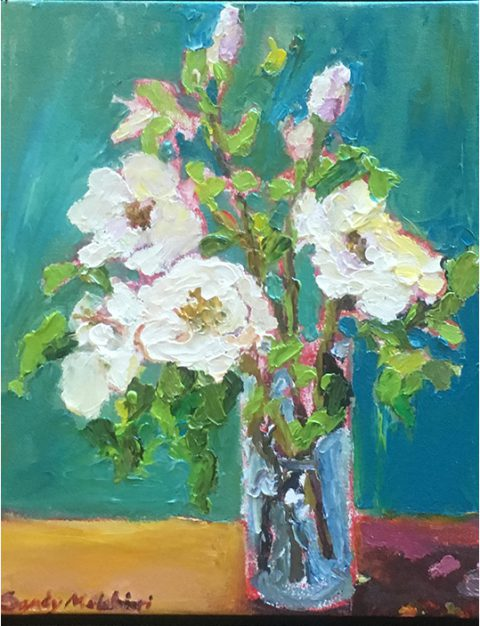 "Wild White Roses (2) 10"" x 8"" – Oil Original - $175 - SOLD"