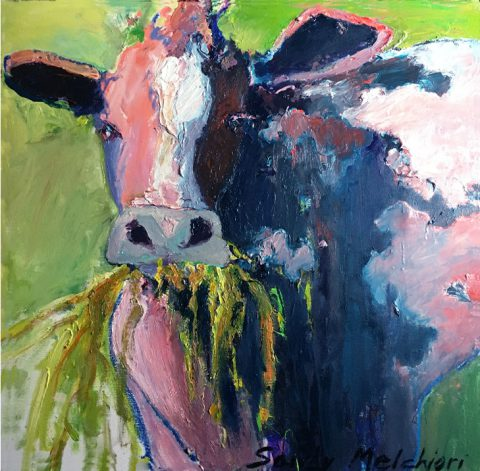 "Pink Cow (2) 27 1/2"" x 27 1/2"" – Oil Original – $833"