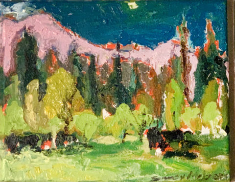 "Black Butte Ranch Black Cows and Pink Mountains - 8"" x 10"" – Oil Original - $333"