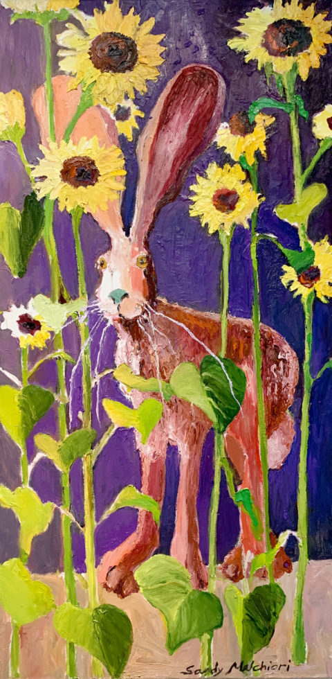 "Pink Jackrabbit and Sunflowers - 48"" x 30"" – Oil Original - $1500 - SOLD"