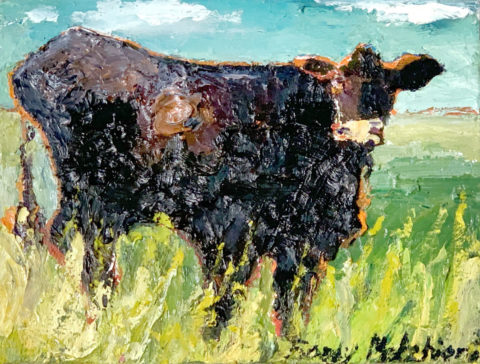 "Black Cow in Summer Pasture - 8"" x 10"" – Oil Original - $333"