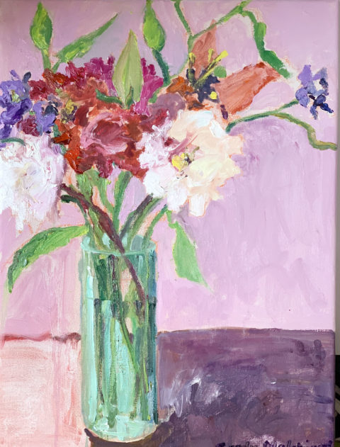 "Summertime Vase of Peonies - 20"" x 16"" – Oil Original - $708"