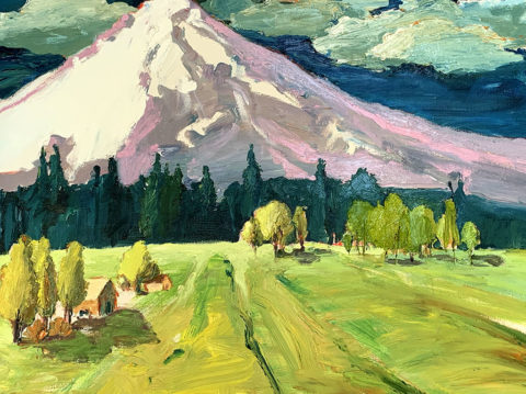 "Mount Hood and Aspens 24"" x 30"" – Oil Original – $750"