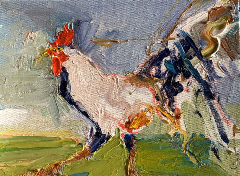 "Rooster RUN RUN 8"" x 10"" – Oil Original – $333"