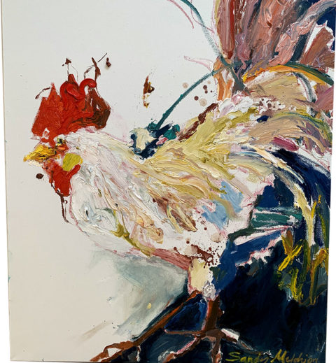 "White Rooster 30"" x 24"" – Oil Original – $400 SOLD"