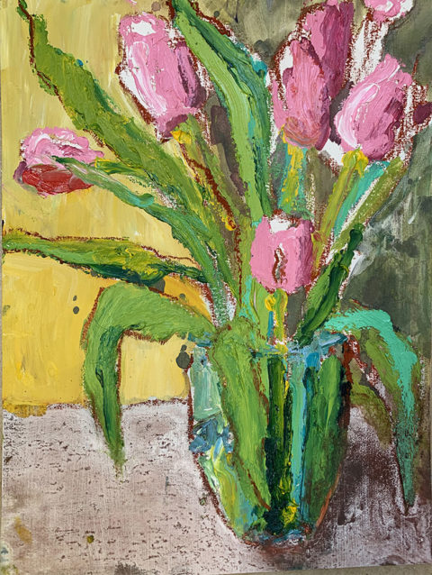 "Spring Pink Tulip Bouquet 12"" x 9"" – Oil Original – $275 Framed"