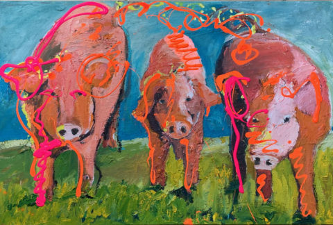 "Three Little Pigs 24"" x 40"" – Oil Original on Canvas – $833"