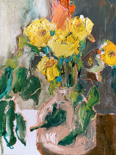 "Little Jug of Yellow Roses 10"" x 8"" – Framed Oil Original on Canvas – $333"