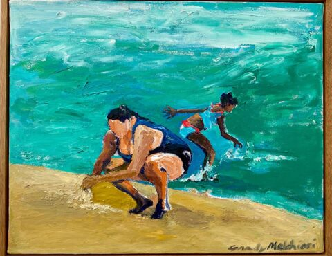 "Caribbean Family Beach Day 12"" x 16"" – Framed Oil Original – $500"