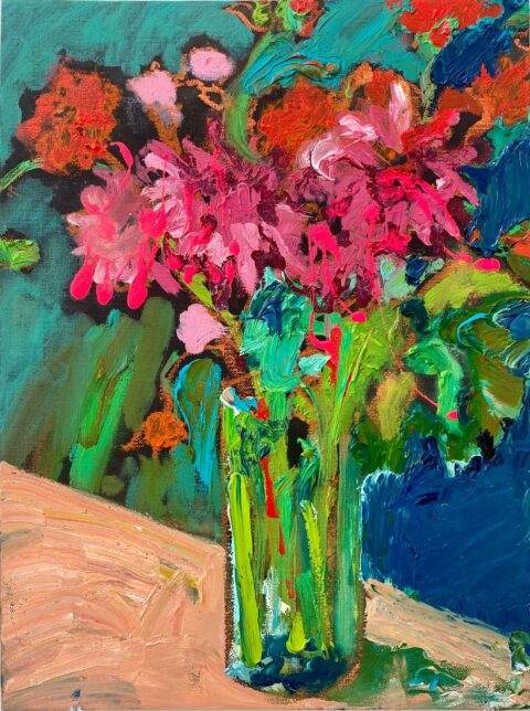 "Dahlia Bouquet 10"" x 8"" – Oil Original – $275"