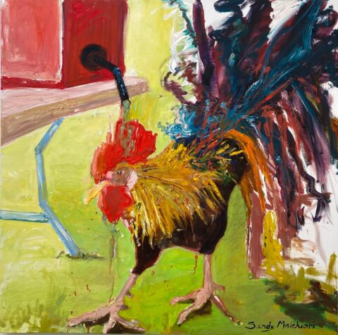 "Kauai Gas Rooster 40"" x 40"" – Oil Original – $900"