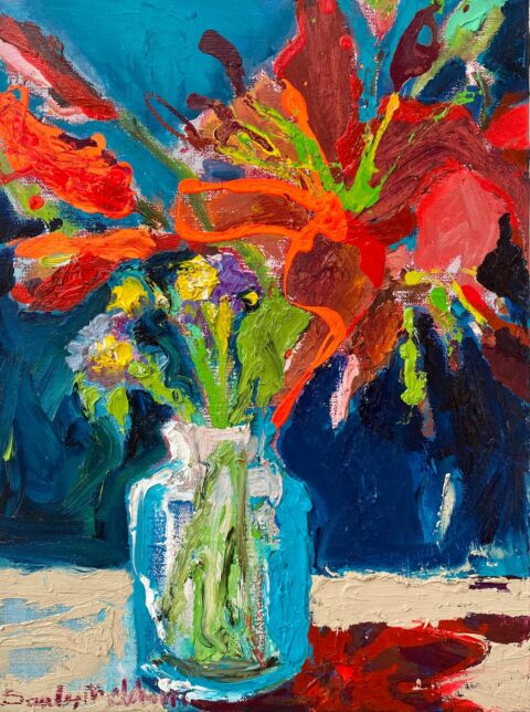 "Orange Lilies Bouquet 10"" x 8"" – Oil Original – $275"