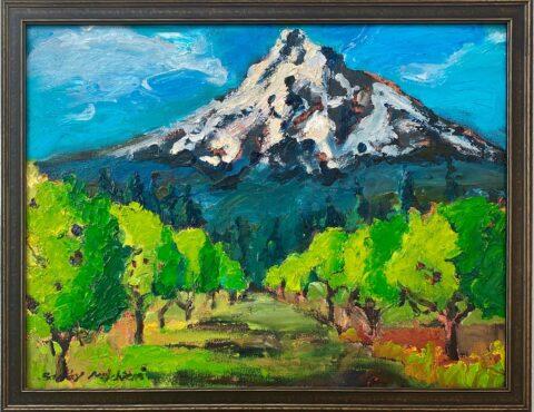 "Sakura Orchard Mt. Hood View 10"" x 8"" – Framed Oil Original – $300"