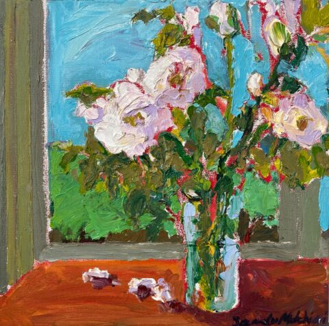 "Wild White Roses 3 12"" x 12"" – Oil Original – $225"