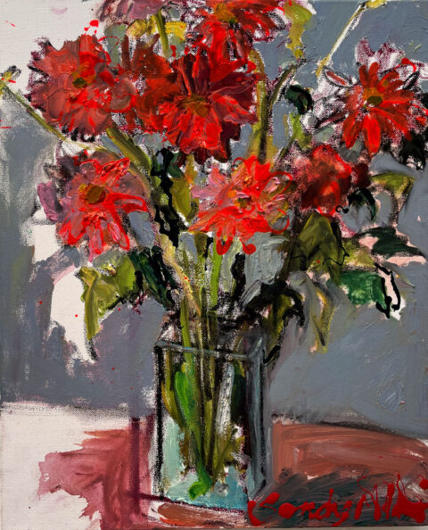 "Delightful Dahlias 16"" x 12"" – Oil Original – $583"